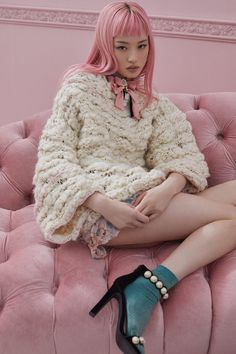inspired mohair shrug sweaters, mini skirts, bonbon details, and cozy popover sweaters make up For Love & Lemons' knitwear line KNITZ collection. Fashion Brand, Boho Fashion, Net Fashion, Rock And Roll, Harajuku, Grunge, Sweater Making, Clothing Labels, For Love And Lemons