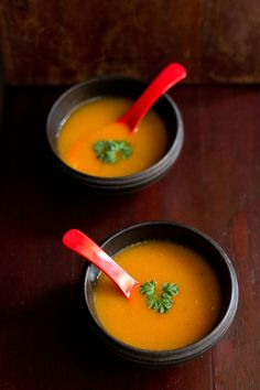 carrot tomato soup recipe with step by step photos. this is one of the most simplest and easy soup recipe to make. the soup has the sweetness of the carrots Irish Potato Soup, Cheesy Potato Soup, Veg Soup Recipes, Cooking Recipes, Healthy Recipes, Simple Recipes, Sprout Recipes, Recipes Dinner, Drink Recipes