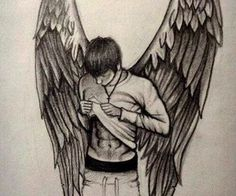 Patch Cipriano on We Heart It Creepy Drawings, Dark Art Drawings, Art Drawings Sketches Simple, Pencil Art Drawings, Love Drawings, Easy Drawings, Wings Drawing, Angel Drawing, Fleurs Art Nouveau
