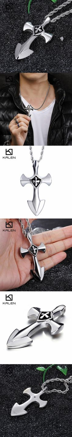 Kalen Classic Cross Pendant Necklaces For Men Stainless Steel High Polished Anchor Cross Necklace Wholesale Dropshipping Jewelry