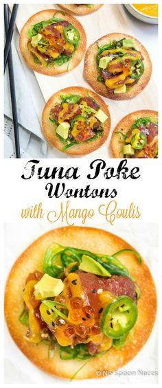 Tuna Poke Wontons with Mango Coulis