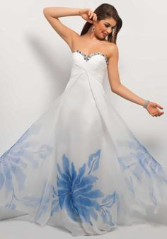 Hawaiian Wedding Dress | Blue & White | Non Traditional | Tropical | Beach | Summer