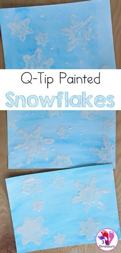 Snowflake Q-Tip Painting - a fun mixed art project that kids can do to paint snowflakes - 3Dinosaurs.com #cookiecuterpainting #artforkids #snowflakes #3dinosaurs