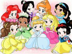 Precioso gráfico de las princesas Disney de niñas...