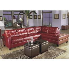 red chairs for living room | Contemporary Allston Red Bicast Leather 3 Pc Living Room Furniture ...
