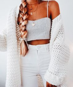 Striped crop + chunky knit.