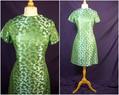 Vintage 60s Jackie O Madmen Green Brocade by QuirkVintageClothing, $42.00