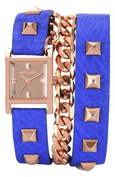 Studded wrap watch.