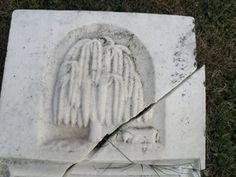 broken stone with willow and lamb Springbank Cemetery Yellowbud, Ohio