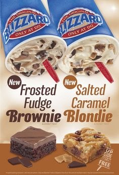 Dairy Queen Frosted Fudge Brownie and Salted Caramel Blondie Blizzards Dairy Free Appetizers, Dairy Free Snacks, Dairy Free Pizza, Dairy Free Soup, Dairy Queen Blizzard Flavors, Dairy Free Biscuits, Dairy Free Coffee Creamer, Dairy Free Frosting, Buttercream Frosting