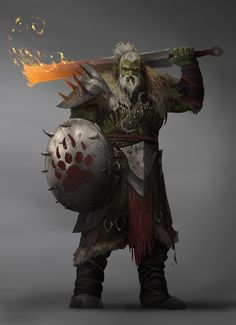 Fire sword warrior / barbarian / mage for DnD / Pathfinder Fantasy Concept Art, Fantasy Character Design, Character Design Inspiration, Character Concept, Character Drawing, Warrior Concept Art, Dungeons And Dragons Characters, D&d Dungeons And Dragons, D D Characters