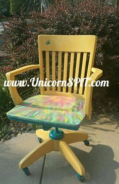 Antique Bankers Chair Base done in homemade chalk paint Top done with Unicorn SPiT Gel Stain Furniture, Hand Painted Furniture, Refurbished Furniture, Furniture Makeover, Diy Furniture, Furniture Refinishing, Antique Furniture, Diy Wood Stain, Paint Stain