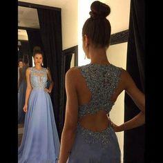 Elegant Blue Floor Length A Line Beading Appliques Prom Dress Crew Neckline Illusion Neckline Evening Dress