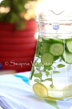Food for Swaps: Detox Water for a fresh start in 2013!  2 litres of Mineral water  1 Cucumber, sliced   1 Lemon, sliced  4 stalks of Mint or 15 Mint leaves  A pretty Jug/ bottle to store