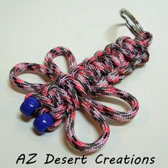 Dragonfly Pink Camo Paracord Key Chain 550 Military Grade Paracord | DesertCreations - Accessories on ArtFire