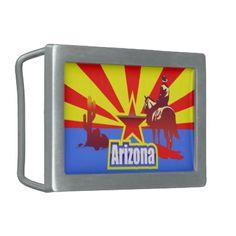 Arizona State Flag Vintage Drawing Belt Buckle