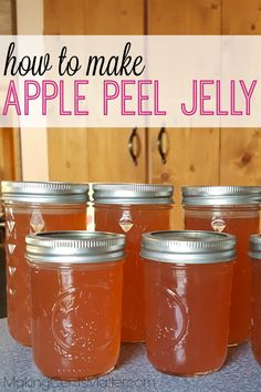 What better way to get another use out of the scraps from your homemade applesauce than to make apple peel jelly? This jelly is super easy to make, and is delicious on sandwiches or oatmeal. Canning Applesauce, Homemade Applesauce, Apple Jelly, Apple Jam, Jelly Recipes, Jam Recipes, Juice Recipes, Cooker Recipes, Salad Recipes
