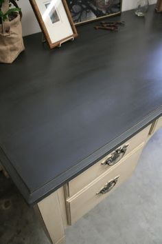 """...desk with Graphite Chalk Paint and the base and legs with Old Ochre."" beautiful photos of both before and after."
