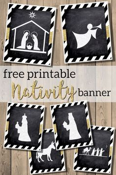 christian christmas crafts Free Printable Nativity sillhouette banner or ornaments Christmas decor. Frugal Christmas, Easy Christmas Decorations, Cheap Christmas, Diy Christmas Ornaments, Kids Christmas, White Christmas, Christian Christmas Crafts, Xmas, Paper Ornaments