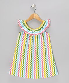 Take a look at this Rainbow Zigzag Yoke Dress - Infant, Toddler & Girls by A Little Annafaith on #zulily today!