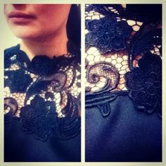 French lace on satin top.