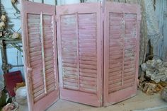 Large wooden shutter set pink and white cottage distressed wood shabby chic home decor Anita Spero on Etsy, $135.00