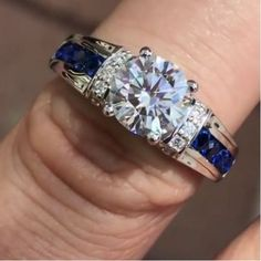 925-Sterling-Silver-1-23Ct-Round-CZ-Solitaire-With-Sapphire-Engagement-Ring