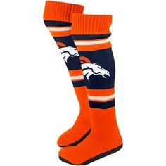 Denver Broncos Ladies Knit Knee Slipper Socks - Orange/Navy Blue