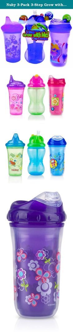 Nuby 3-Pack 3-Step Grow with Me Cup Combo, 9-12 Ounce, Colors May Vary. The Nuby 3 Step Grow with Me! Cup Combo includes: One No-Spill Printed Cup 9 oz. / 270ml - This cup is perfect for the stage when your child is Exploring independent drinking. This cup features the Dual-Flo TM valve that can be adjusted to control the flow of liquid. The easy to use spout is hard and robust perfect for toddlers with newly formed sharp teeth. One No-Spill Mega Flip-it 12 oz. / 355ml - Once your child…