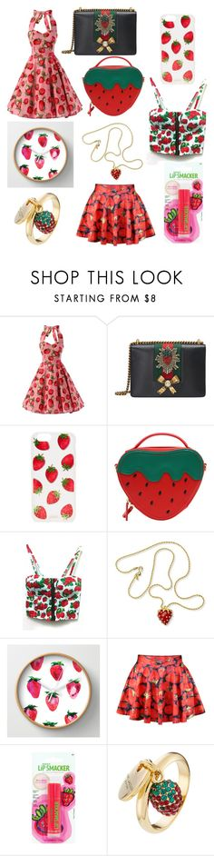 """🍓strawberries🍓"" by dreamerz-dream-on ❤ liked on Polyvore featuring Gucci, Sonix, WithChic, Kenneth Jay Lane, Aroma and Marc Jacobs"