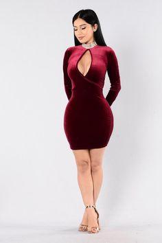 Who's Keeping Score Dress - Burgundy
