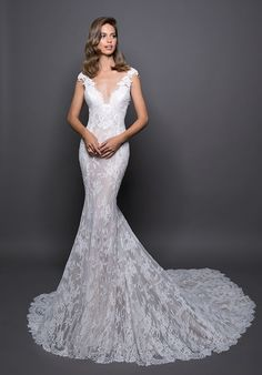 Lace Detailed V-neck Fit And Flare Wedding Dress on Kleinfeld Bridal | Fitted lace V-neck gown with low scoop back.