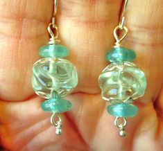 Silver wire pale aqua glass lampwork bead, aqua glass discs drop dangle earrings. FOR SALE, Please visit my ebay page to see all of my earrings for sale: www.ebay.com/...?::