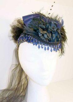 Ladies' Victorian Blue-on-Black French Gem Hat