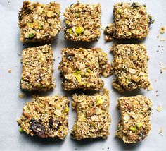 Quinoa-Pistachio Granola Bars Recipe Lunch and Snacks, Breakfast and Brunch with rolled oats, quinoa, dried fruit, roasted pistachios, unsweetened shredded dried coconut, flax seed meal, unsalted creamy almond butter, agave nectar, canola oil, salt