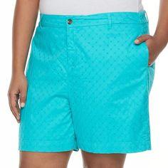 Plus Size Croft & Barrow® Novelty Shorts, Women's, Size: 22 W, Turquoise/Blue (Turq/Aqua)