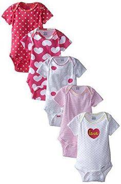 Gerber Baby-Girls Newborn Heart 5 Pack Onesies Heart 0-3 Months