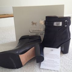 """Worn just once! Authentic Coach in original box 🌸🌸 REDUCED🌸🌸Coach Kasandra black leather ankle boot. Perfect condition! 3"""" heel. Coach Shoes"""