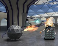 Daleks Battle the Mechanoids by hastran on DeviantArt Doctor Who Books, Doctor Who Fan Art, Bbc Tv Shows, Classic Doctor Who, William Hartnell, Sci Fi Comics, First Doctor, Dalek, Cool Names