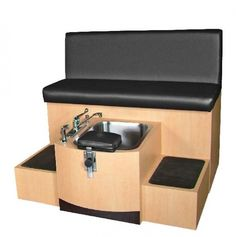 A soaking pedicure bench with stainless steel pedicure unit, adjustable and removable client footrest and available in various laminates like fusion maple, matte black, wild cherry and Brighton Walnut. Spa Pedicure Chairs, Pedicure Chairs For Sale, Pedicure Spa, Pedicure Station, Spa Chair, Mystic Moon, Nail Room, Salon Interior Design, New Shop