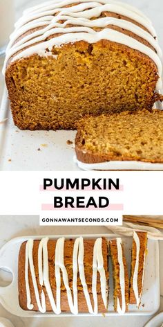 *NEW* This pumpkin bread recipe moist, tender, and truly decadent! The pumpkin flavor is spot on and the warm fall spices are just perfect. This makes 2 loaves! #pumpkinrecipes #breadrecipes #yeastfree #quickbread Baked Pumpkin, Pumpkin Bread, Pumpkin Puree, Quick Bread, Just Desserts, Vanilla Cake, Bread Recipes, Baking Soda, Muffins