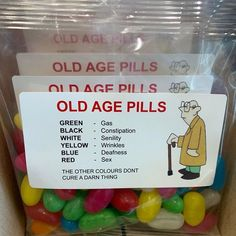 "Old age pills 👴👵 We just saw this.funny as hell. But wait wasn't the blue pill ""the sex pill""💊 🤣 Birthday Gag Gifts, Birthday Candy, 50th Birthday Party, Mom Birthday, Birthday Party Decorations, Birthday Ideas, Prank Gifts, Funny Gifts, Birthday Survival Kit"