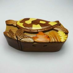 Handmade Art Intarsia Wooden Puzzle Box - Sea Turtle