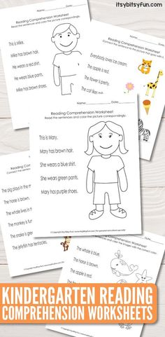 Reading Worksheets for Kindergarten Activities - Reading worksheets help children develop the early skills needed to become a good reader. Kindergarten Addition Worksheets, Subtraction Kindergarten, Free Kindergarten Worksheets, Kindergarten Reading, Grammar Worksheets, Reading Comprehension Worksheets, Printable Worksheets, Free Printables, Template