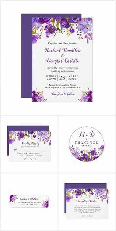 Ultra Violet Purple Floral Wedding and Event Invitation Suite A Trendy Ultra Violet Purple Floral Invitation Suite, with items from Invitations to RSVP card, Thank You Card, Save the Date Card, Information Card, Stickers and more.