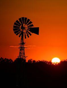 Sunset behind a windwheel by Barry Gentry, 2014 Dusk To Dawn, Wind Turbine, Sunrise, Sunrises