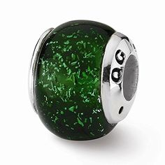 Sterling Silver Green Dichroic Glass Bead Charm For Pandora Biagi Chamilia European Bracelets >>> You can find out more details at the link of the image.