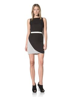 90% OFF Halston Heritage Women\'s Cape Back Dress (Black/Chalk)