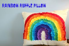Ruffled Rainbow Pillow - perfect for Miss M rainbow room