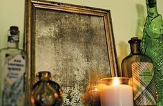 How to Patina a Mirror using Modern Masters Metal Effects Blue Patina Aging Solution.